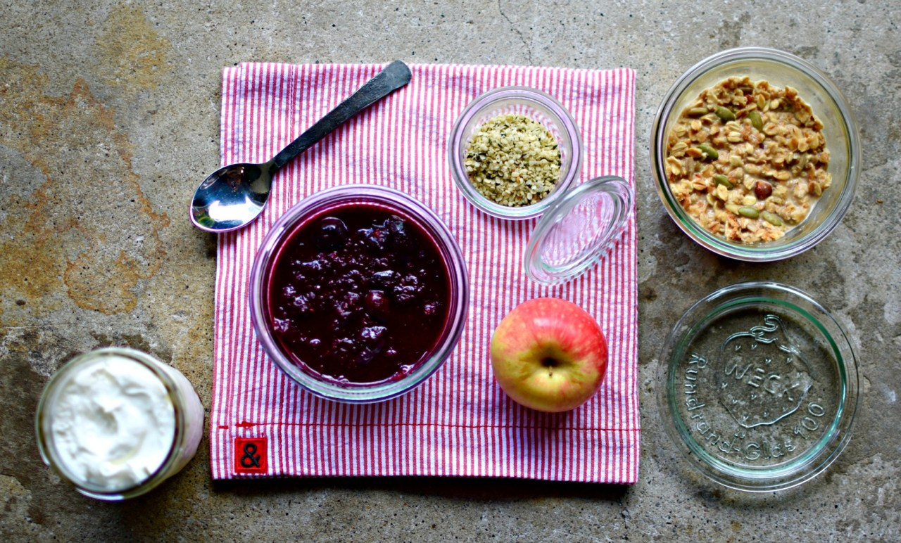 Make your homemade granola into a stunning autumn Bircher-style breakfast, adding homemade berry compote for extra colour, nutrients and tangy flavour. You will have enough berry compote for several bowls of soaked granola, or to swirl into yogurt.
