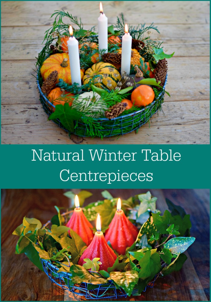 Winter garden inspired natural table decoration centerpieces for Christmas and all winter long.