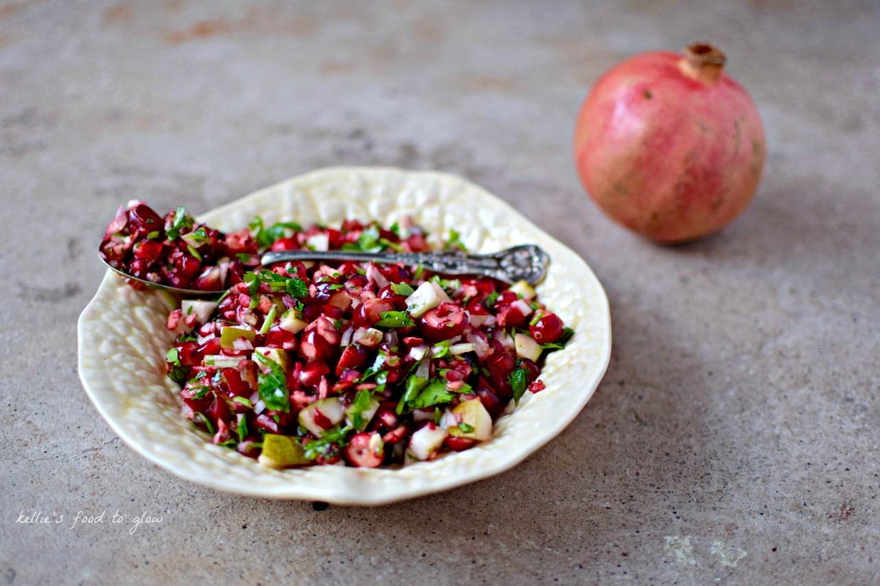 A snappy little raw pomegranate and cranberry relish cum salsa to make Christmas leftovers almost as good the second time round! It is also really fantastic with grilled or poached salmon and as a buffet salad. Add fresh slices of chilli for a proper salsa.