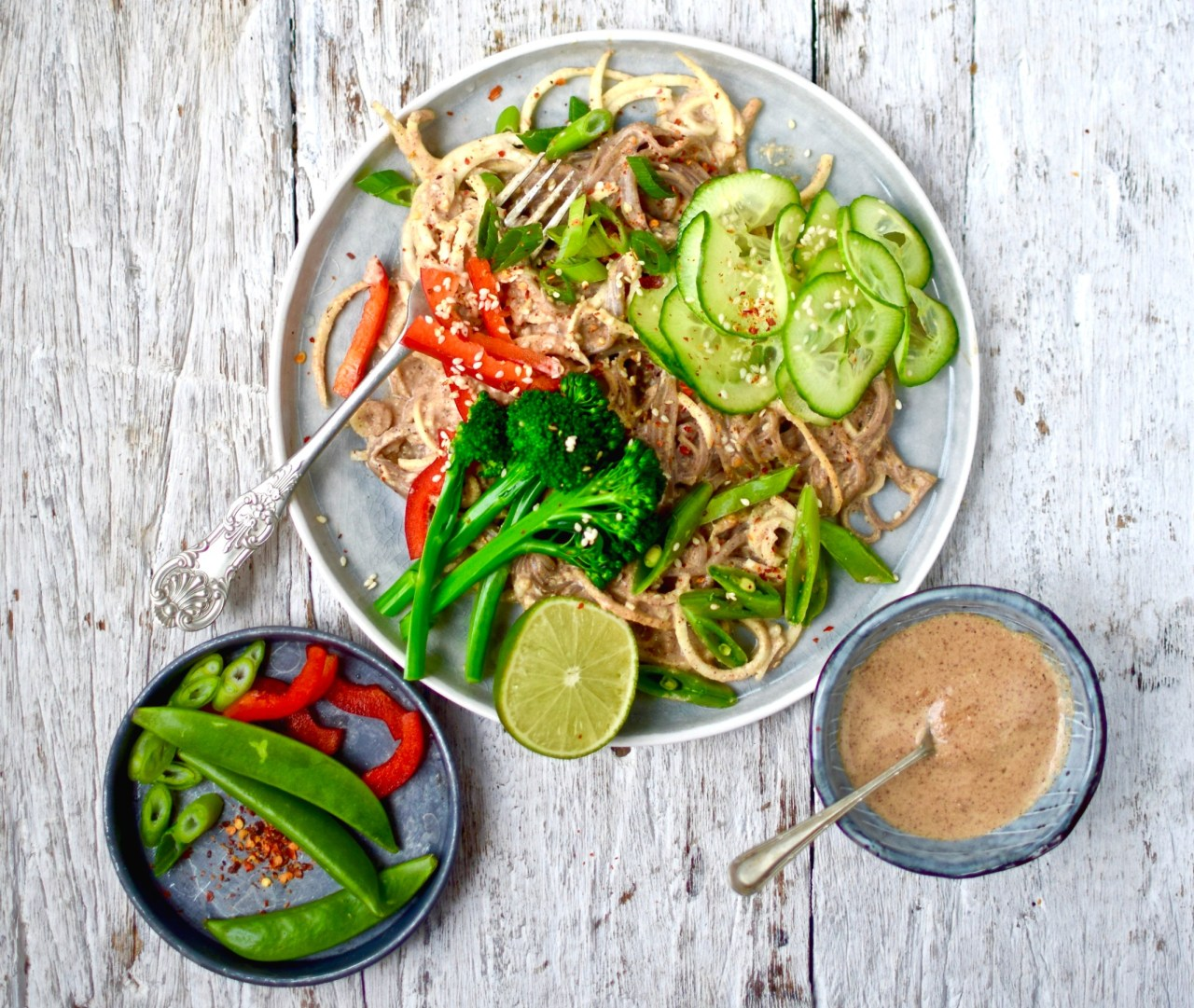 "Ring in the Year of the Rooster with this ""lucky"" dish of spicy peanut butter and parsnip noodles. I can't promise health, wealth and happiness but I can pinky-swear that you will love this flavour-jammed quick, easy, lower carb vegan recipe. Adjust the spices to your liking."