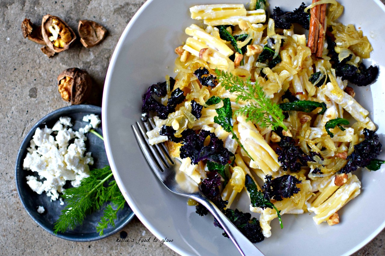 A little taste of Turkey lurks in this deceptively simple, but deeply-flavoured vegetarian pasta dish. Make more onions than you need and add the remainder into dishes for days to come.