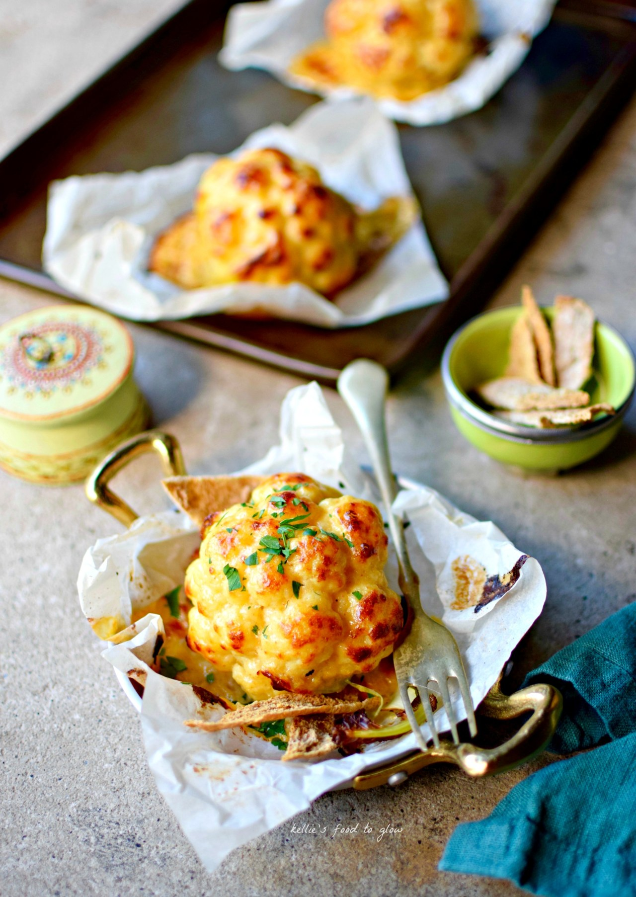 Cauliflower covered in bubbling, boozy rarebit cheese sauce is hard to resist, especially when the cauliflower is given a boost through a simple brining. Enjoy as a side dish, light lunch or supper. Easy cheesy goodness guaranteed!