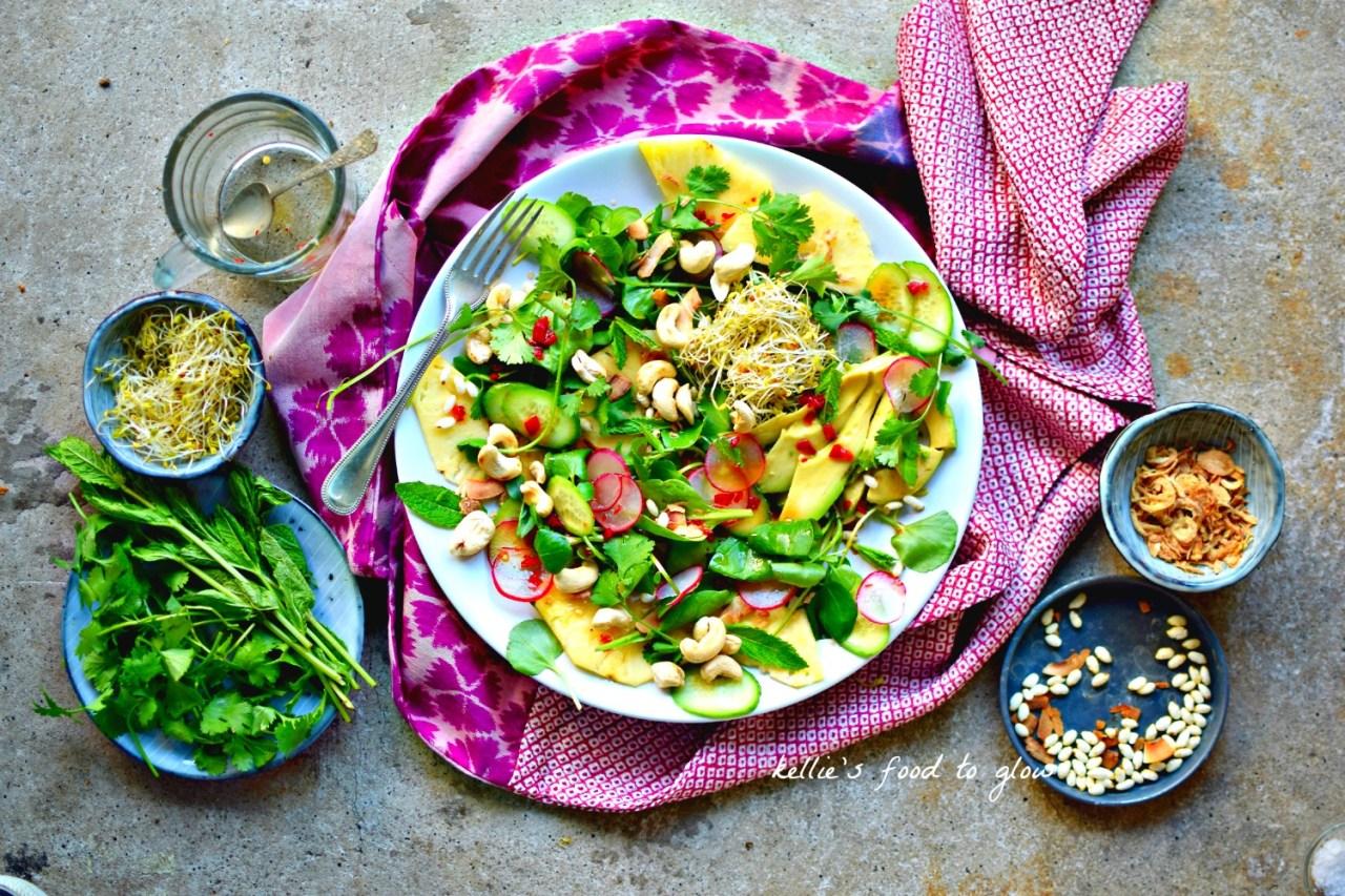 Vegan Thai Avocado and Cashew Salad