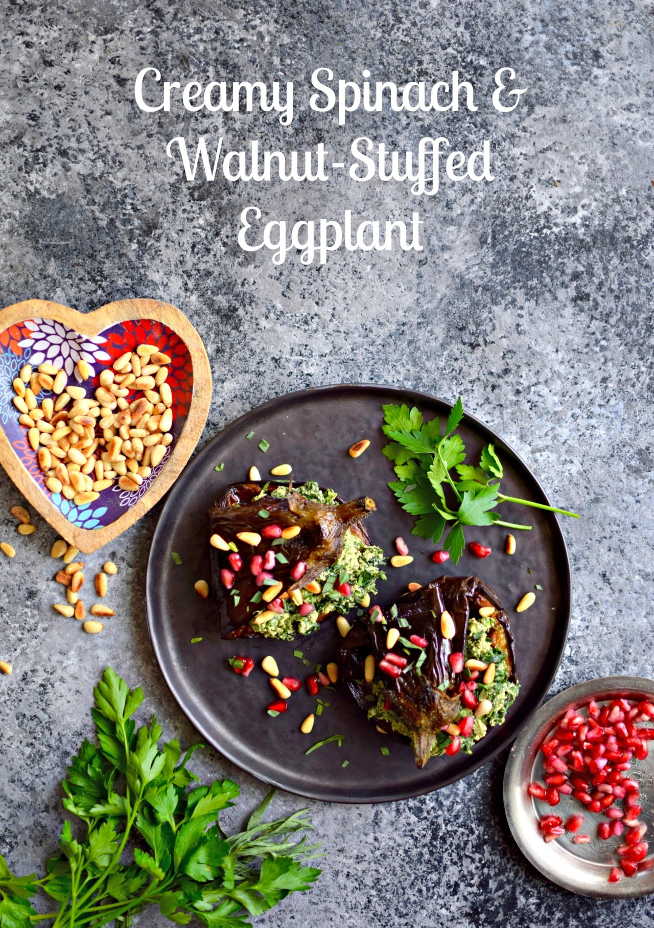 spinach walnut stuffed eggplant feature