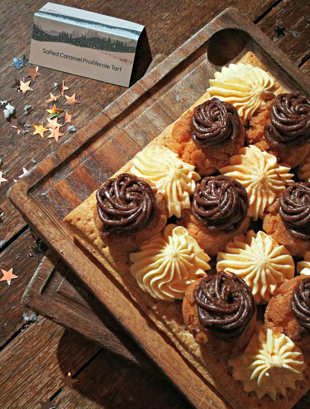 salted caramel profiterole tart