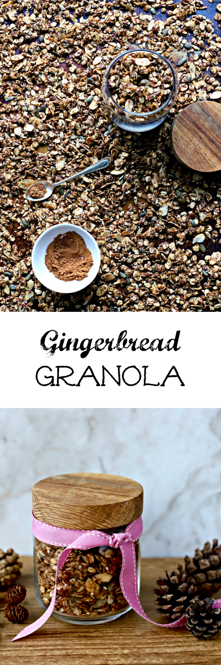 Gingerbread Granola brings Christmas vibes to your breakfast table at any time of the year. Subtly sweet, slow-baked and delectably crunchy, make it even more irresistible by adding dried cranberries and little nuggets of dark chocolate after cooling. A great last-minute Christmas gift, too. kelliesfoodtoglow.com