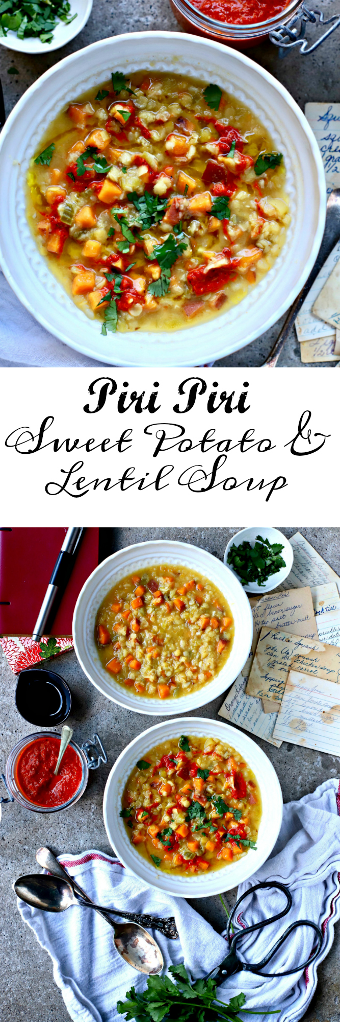 Swirls of homemade piri piri hot sauce top this family-friendly, sweet potato and lentil soup. Vegan, nutritious and perfect for lunch.