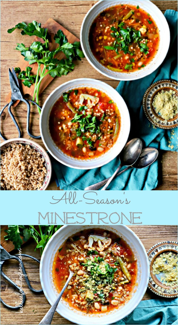 Let your vegetables have a party in a pot with this nutritious, hearty, all-season's minestrone soup. It includes giant wholegrain couscous and cauliflower. Not traditional, but really very tasty. #soup #minestrone #budgetrecipe #seasonal #vegan #vegetarian #wholegrains #familyfood kelliesfoodtoglow.com