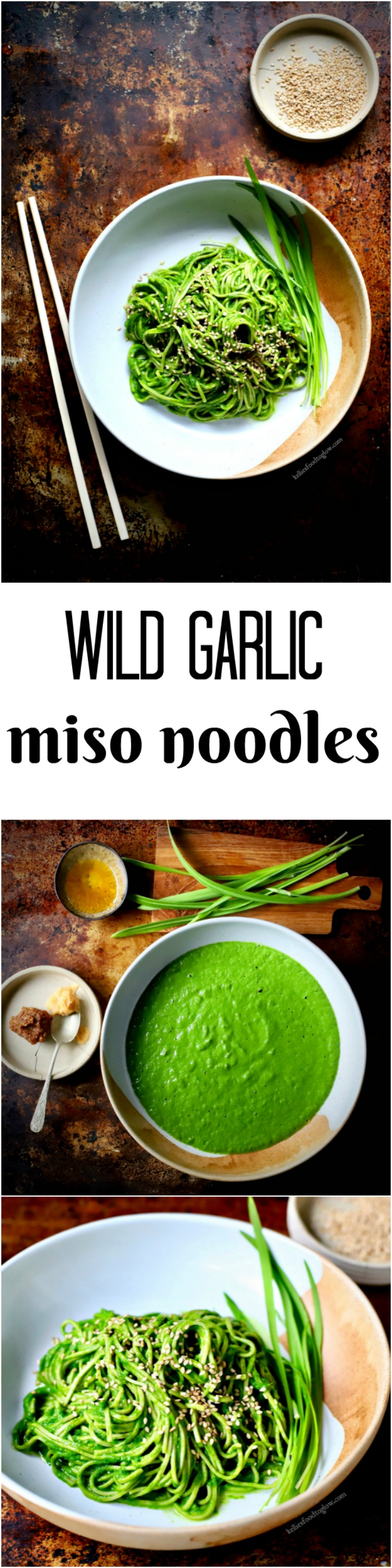 Silky and seasonal wild garlic, #miso and spinach #sauce for pasta, noodles, steamed vegetables and more.#wildgarlic #rawfood #vegan #glutenfree