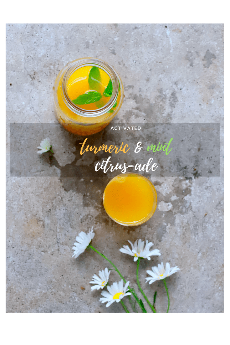 Cool down and fuel up with this energy-giving Activated #Turmeric & Mint Citrus-ade. Made with three citrus fruits, ginger and turmeric, you and your family will want to sip this nutritious and delicious drink all summer long. #drinks #summer #nutrition #lemonade #citrus #recipe