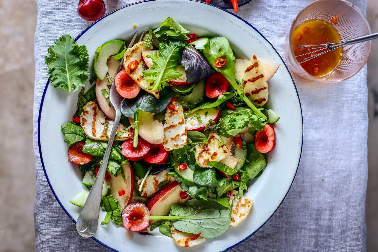Thai fruit salad meets British stone fruit and griddled halloumi cheese for a Western take on a wonderfully fresh and tangy salad. #fruit #salad #thai #halloumi