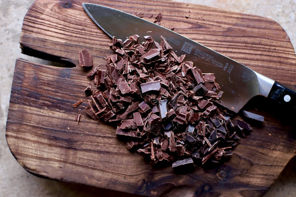 chopped dark chocolate by kelliesfoodtoglow.com