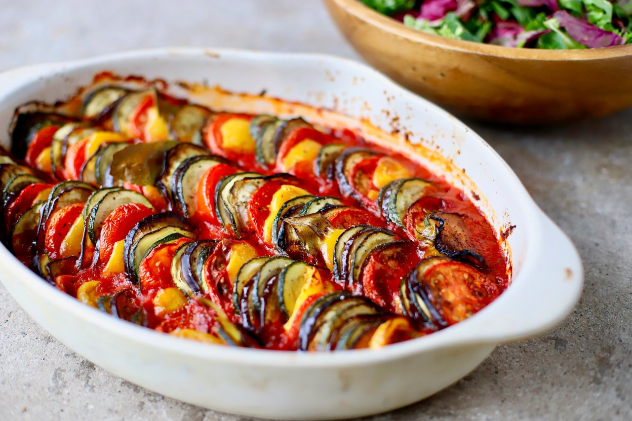 The prettiest way to eat your vegetables - Baked Ratatouille Tian for easy summer entertaining or family meals.  #ratatouille #vegan #recipe