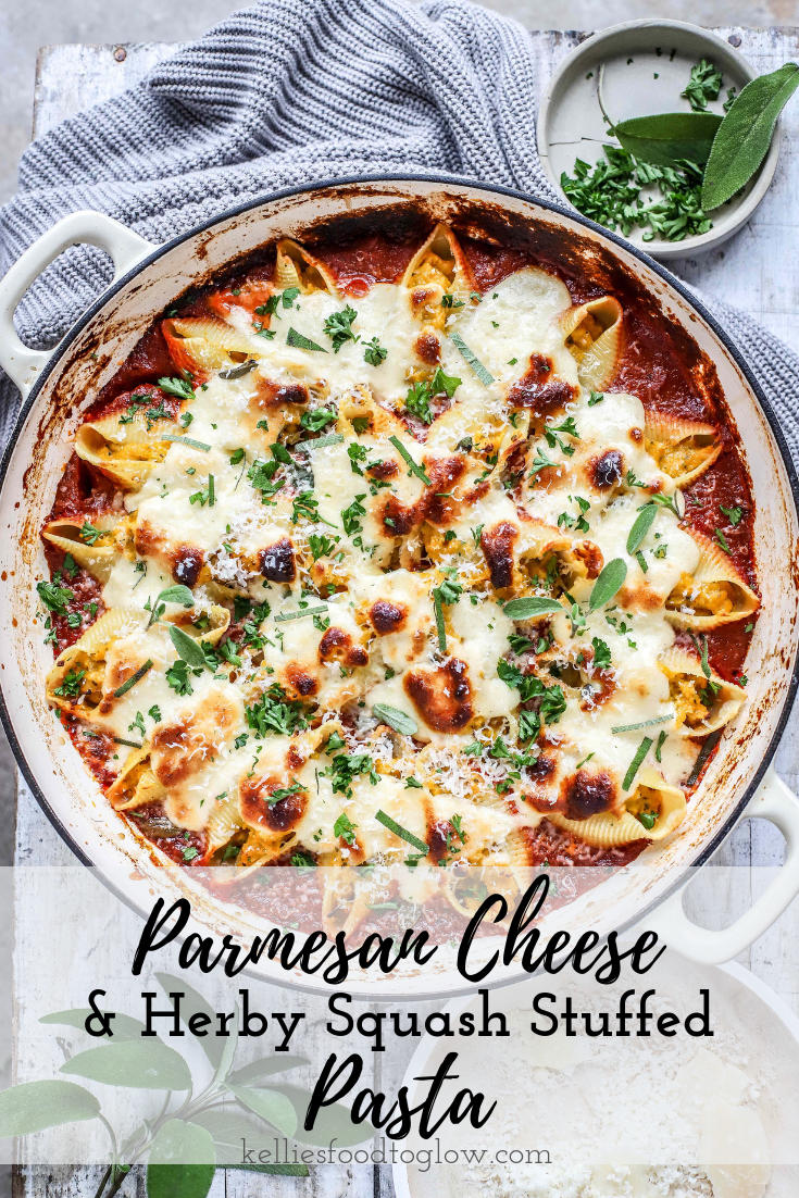 Pasta shells stuffed with herb-roasted winter squash and Parmigiano Reggiano, over a layer of rich marinara tomato sauce and blanketed in a cheesy, no-cook white sauce. #parmesan #pasta #vegetables #cheese #familyfood #winter #recipe