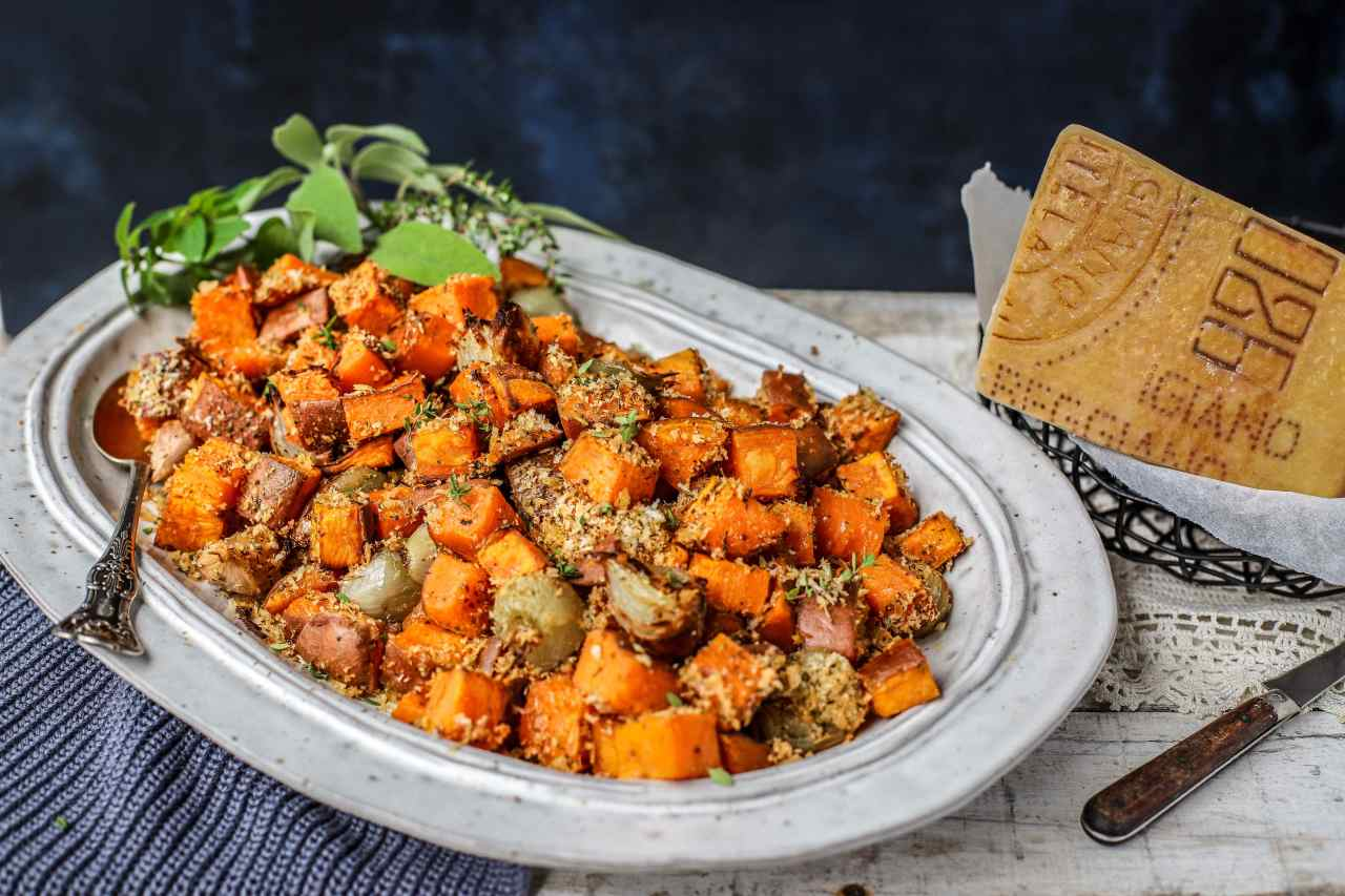 Roasted Parmigiano Reggiano Sweet Potatoes and Shallots are a super-simple sweet, savoury, crunchy, and soft and nutritious side dish that will have your family asking for seconds. These would be great for any dinner - festive or everyday. #sidedish #sweetpotatoes #parmesan #easyrecipe #family #food