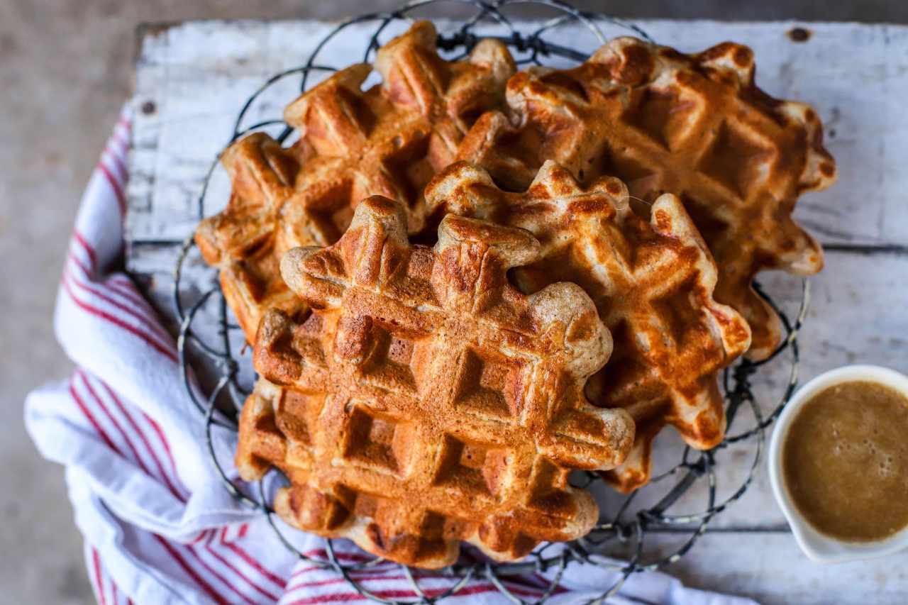 #Gingerbread Sourdough #Waffles use your leftover/discard #sourdough starter and are perfect for a lazy weekend #breakfast or #brunch.