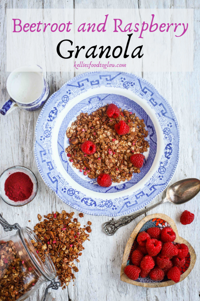 Beetroot and raspberry #granola for a healthy #breakfast or #snack. #Vegan #recipe