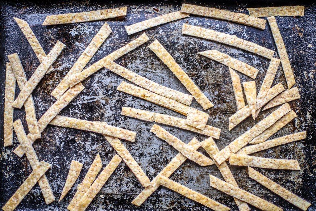 pitta bread strips on a vintage tin baking tray
