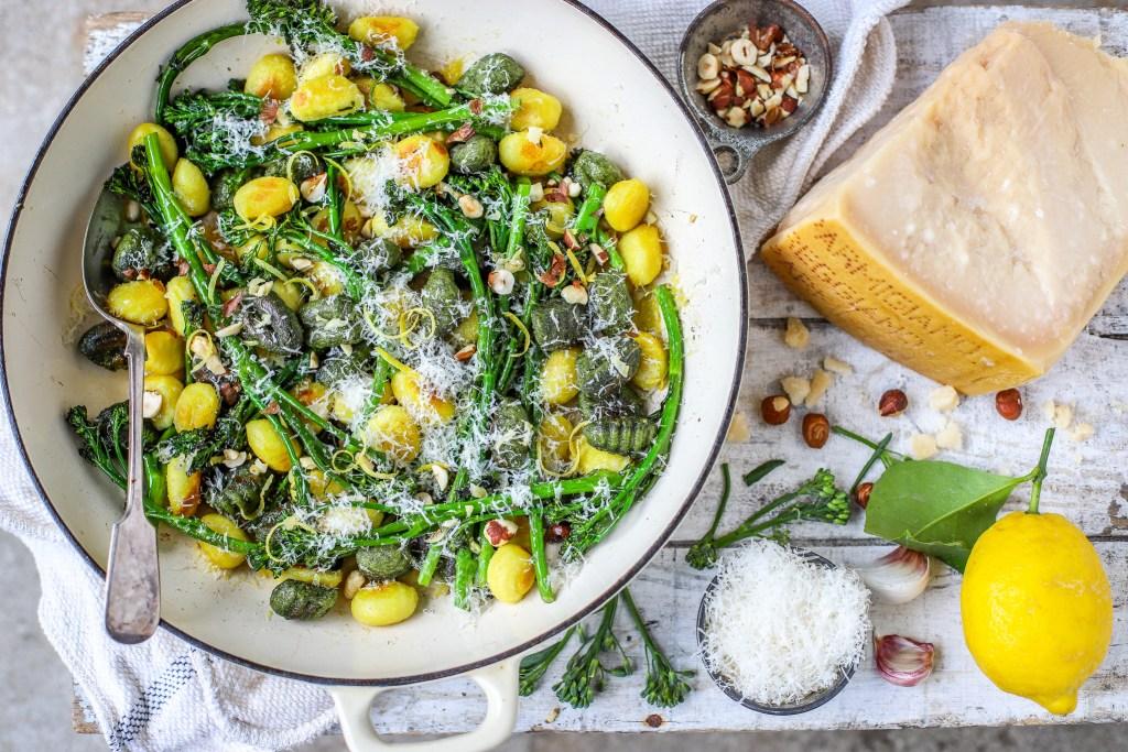 portrait view of broccoli gnocchi with parmesan