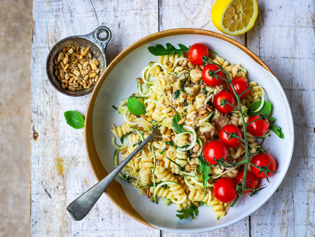 crab courgette pasta with loads of lemon