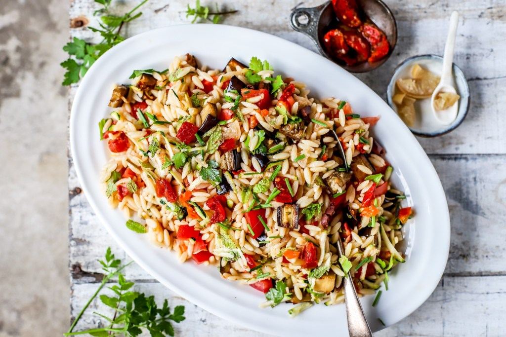 Orzo Pasta Salad with vegetables and herbs