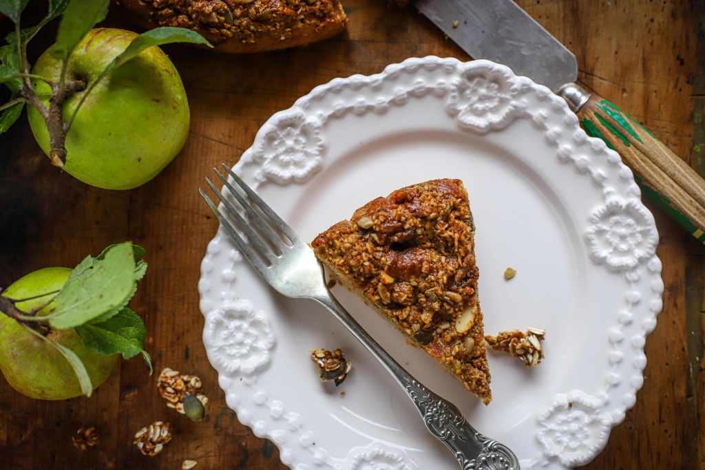 Apple Cake with Streusel Topping on white plate