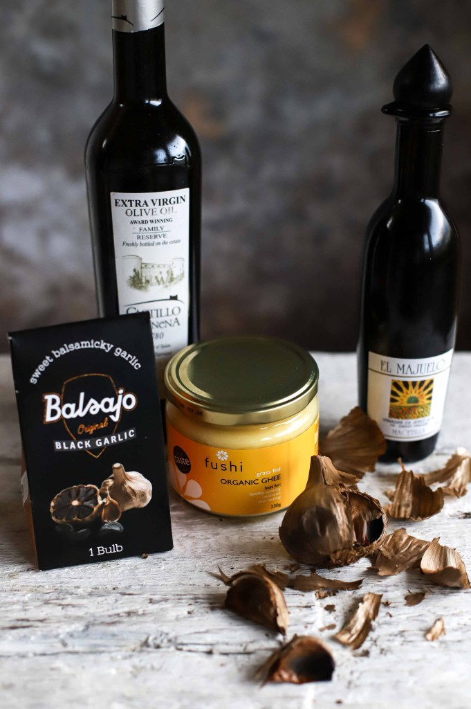 ingredients for roasted black garlic cauliflower