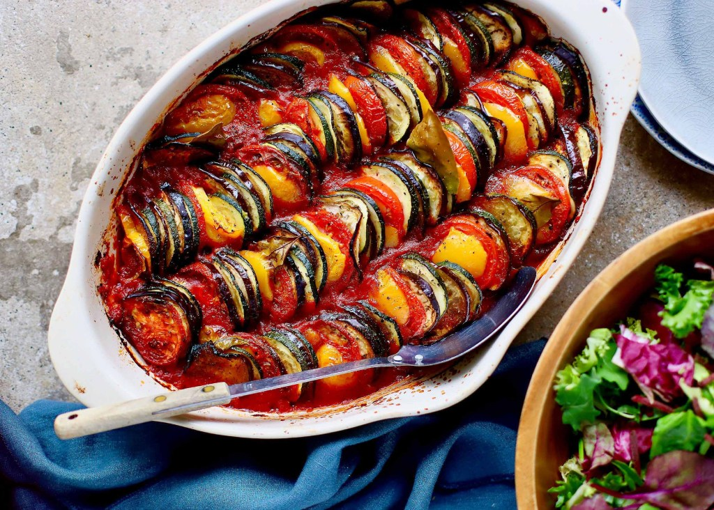 Baked Ratatouille Tian in a white oval dish