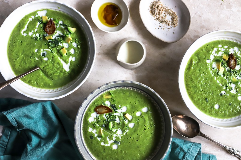 green soup in bowls