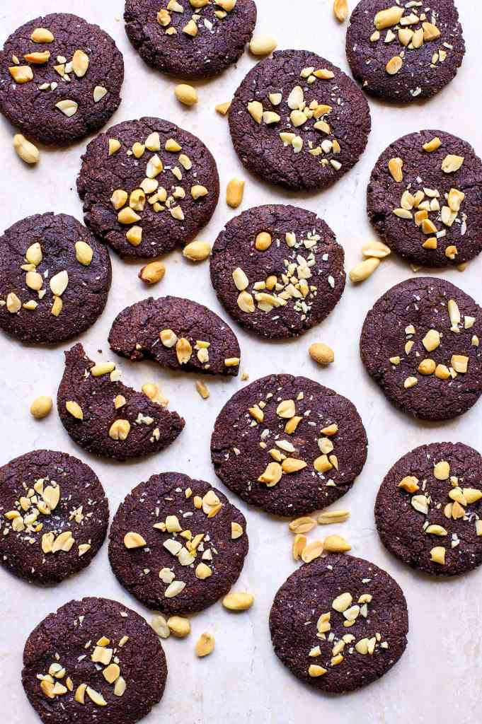 chocolate cookies with peanuts on top