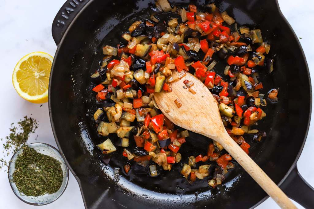 chopped mediterranean vegetables in skillet