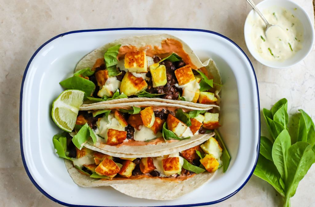 vegetarian tacos with halloumi and black beans
