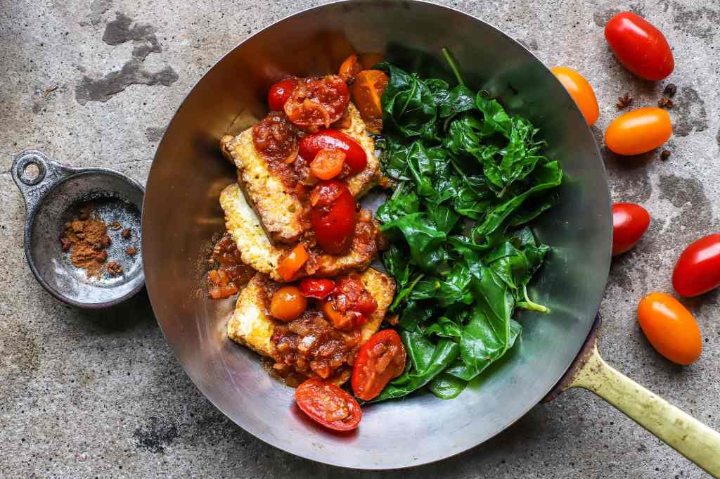 tangy tomatoes and tofu with sichuan pepper