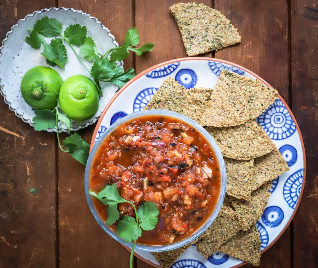 tortilla chips and tomato salsa