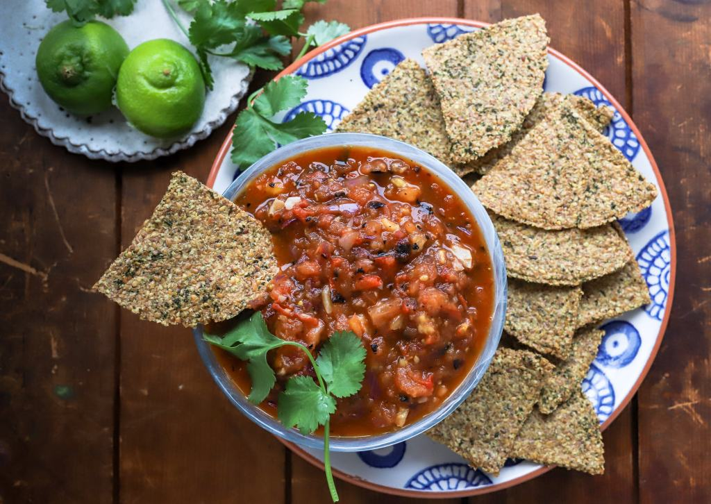 keto tortilla chips and roasted tomato salsa