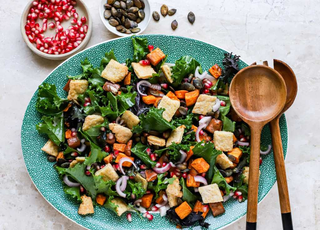 winter kale and sweet potato salad