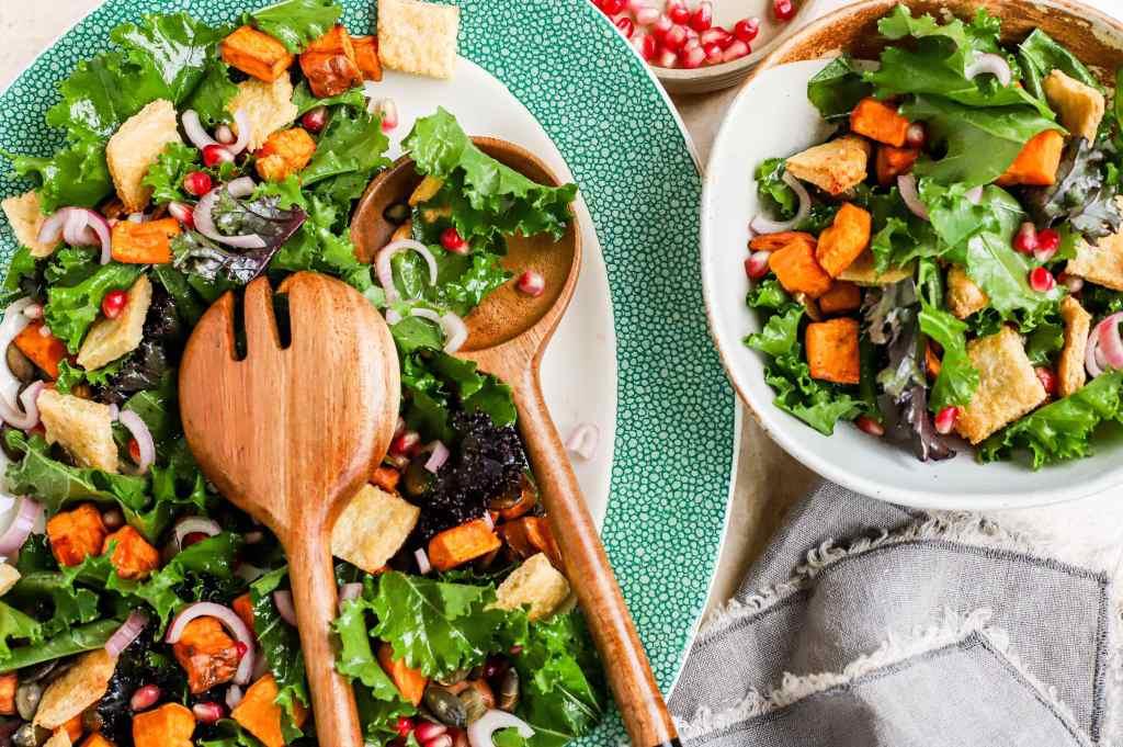 sweet potato and kale panzanella salad