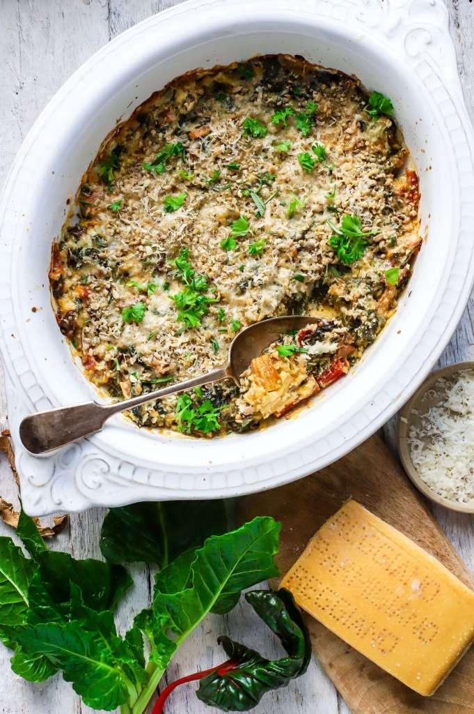 chard and porcini mushroom gratin with parmesan