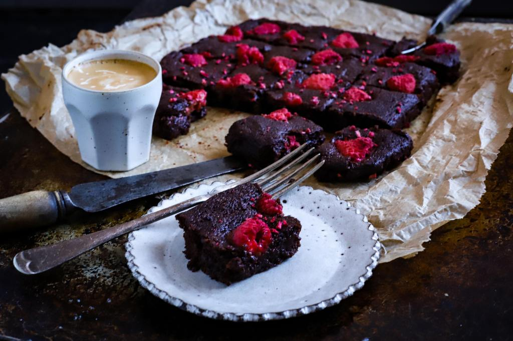 low-carb brownies topped with raspberries
