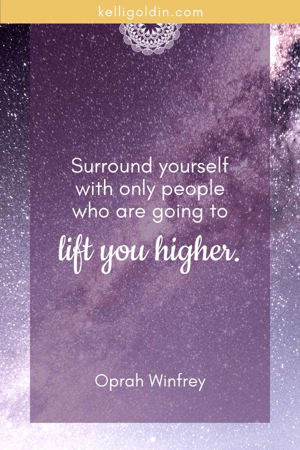 night sky full of stars with text overlay saying Surround yourself with only people who will lift you higher. Oprah Winfrey