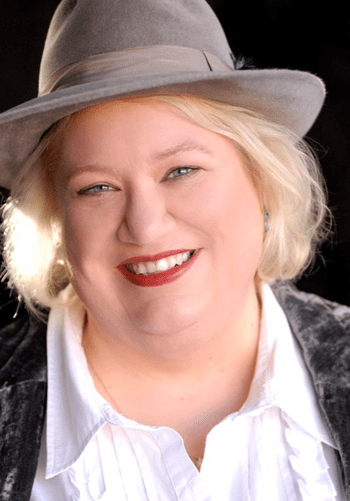Photo of author Kelli Stanley in gray fedora