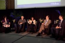 Dean Sally Blount '92, President and COO of Harley-Davidson Matt Levatich '94, CEO and Founder of ClearStory Data Sharmila Mulligan '94, Professor Harry Kraemer '79 and Professor Gad Allon talk during the Brave Leader Panel at #KelloggReunion.