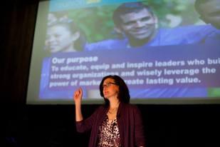 Dean Sally Blount speaks at Brave Leader Panel at #KelloggReunion.