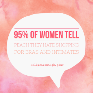 "peach picture with text, ""95% of women tell peach they hate shopping for bras and intimates"""