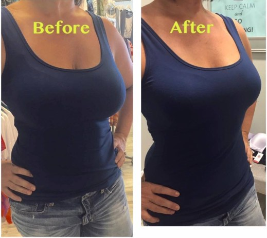 A peach bra before & after