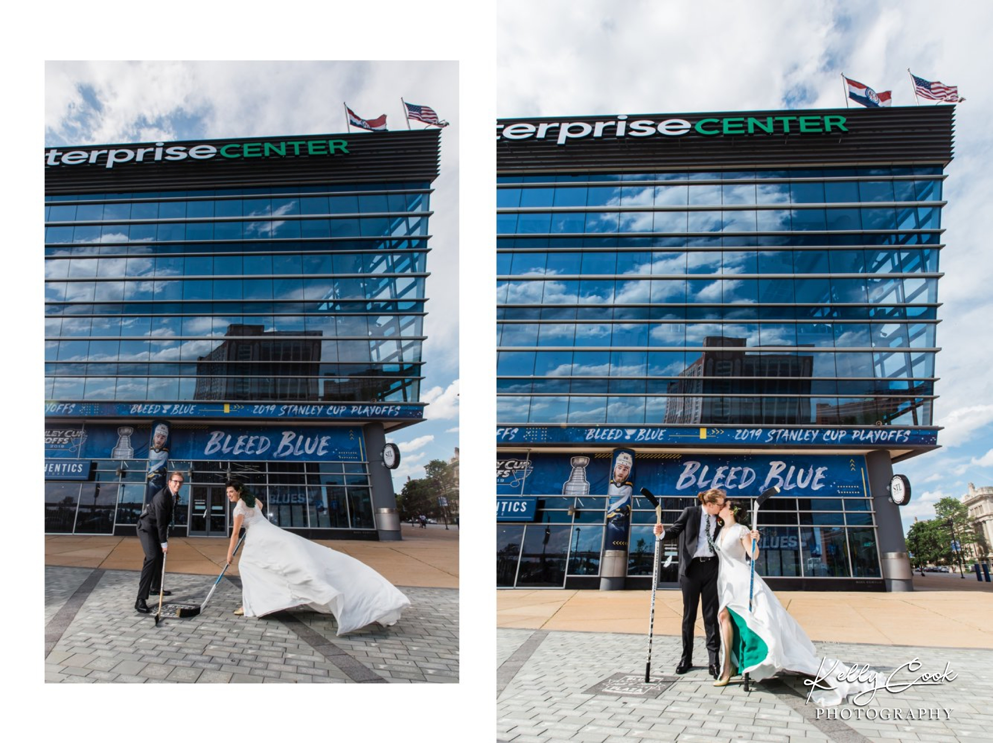 St. Louis Blues wedding photo of a couple with hockey sticks
