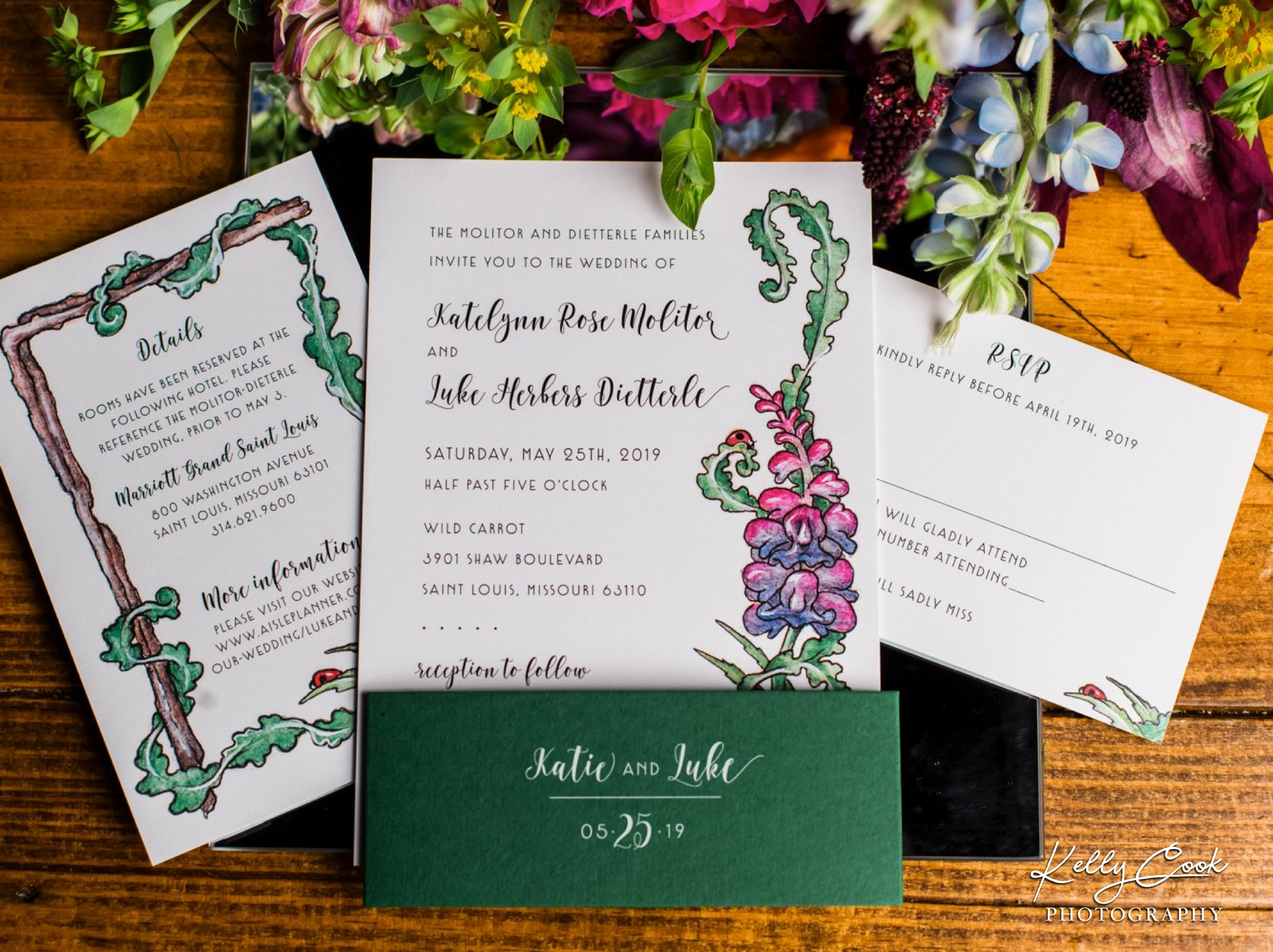 Colorful wedding invitation and flowers