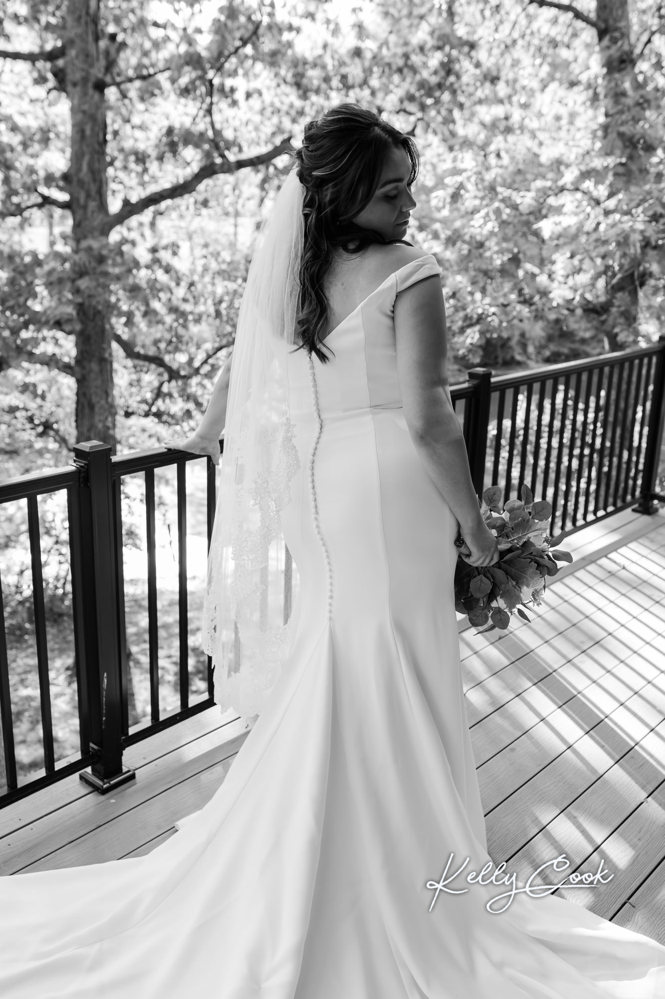 Black and white portrait of a bride before her wedding