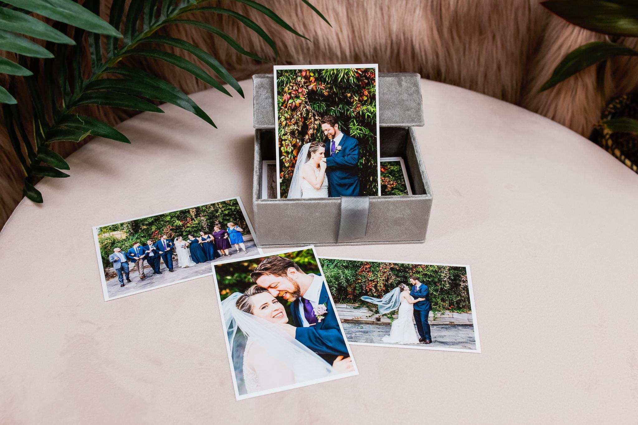 Velvet print box with colorful wedding photos