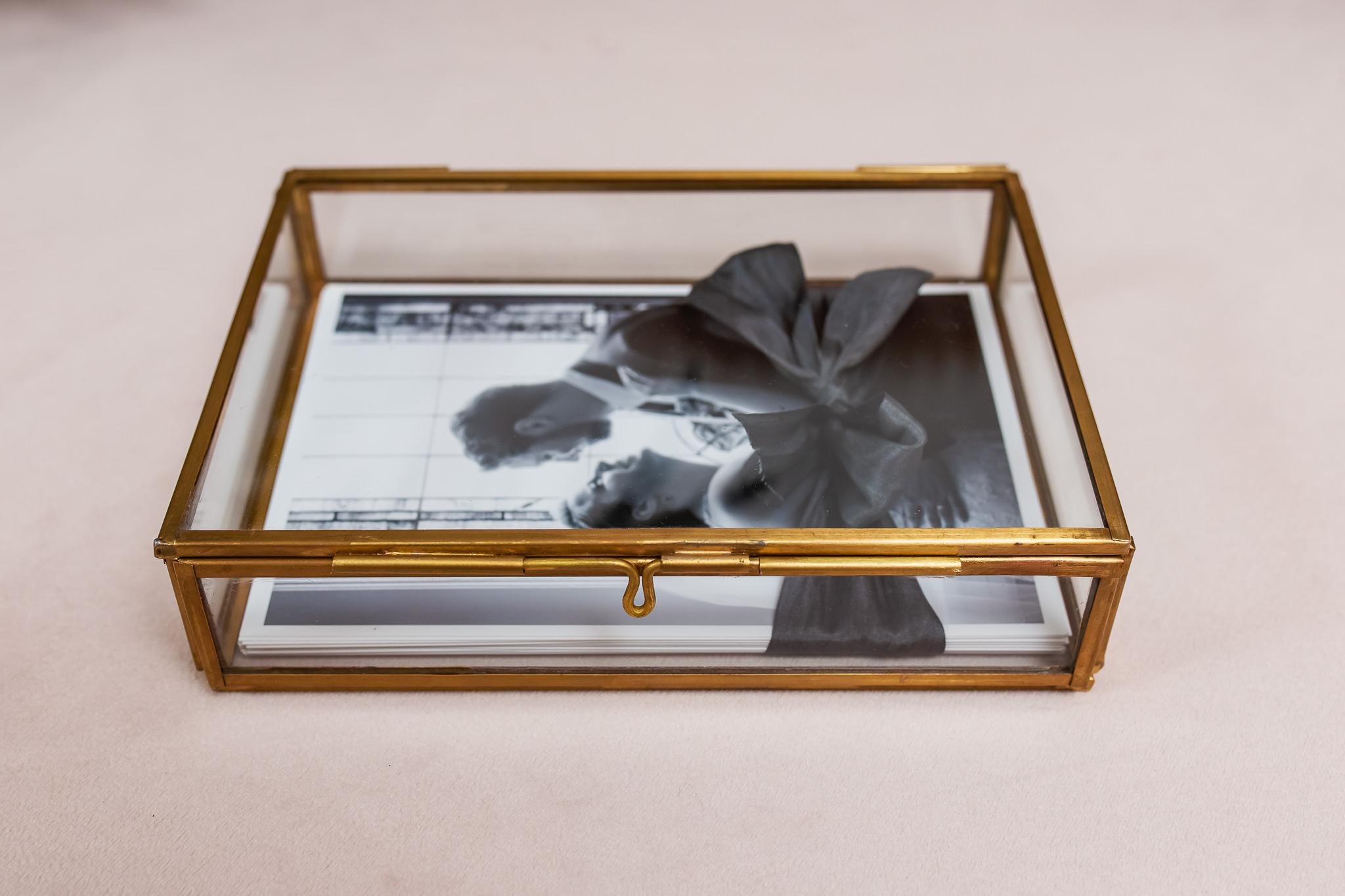 Glass and metal print box with fine art wedding prints